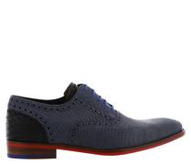 Schnürschuhe, Leder, Punktemuster, Oxford-Stil, Blau