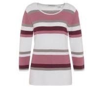 Pullover, Rundhals, gestreift, reine Baumwolle, Rot