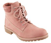 Boots, Leder, gepolsterter Einstieg, Profilsohle, gefüttert, Rosa