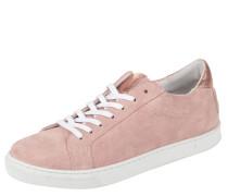 Sneaker, Veloursleder, uni, Metallic-Look, Rosa