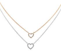 Kette mit Herzen, Bicolor, Silber, Rosegold, 63-0915-1-782