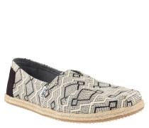 "Espadrilles ""Classic"", zweifarbiges Geometrie-Muster, Bast-Sohle, Weiß"