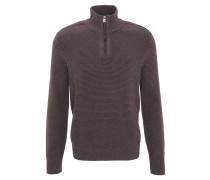Pullover, zweifarbig, Klappkragen, Reißverschluss, große Größen, Braun