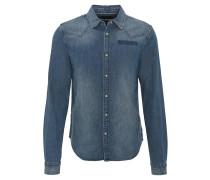 Freizeithemd, Jeans-Optik, Baumwolle, Druckknöpfe