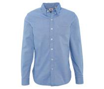 Freizeithemd, Under-Button-Down-Kragen, Brusttasche, Blau