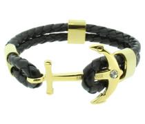 Anker Armband 107682 Edelstahl Leder Zirkonia schwarz gold