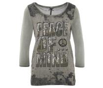 Shirt, 3/4-Arm, Pailletten, Oliv
