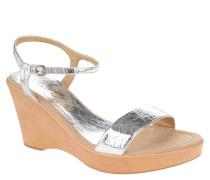 """Sandaletten """"Rita 17"""", Leder, Knitter-Optik, Keilabsatz, Silber"""