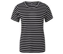 T-Shirt, gestreift, Wellensaum