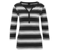 T-Shirt, 3/4-Arm, Bio-Baumwolle, gestreift, Henley-Ausschnitt