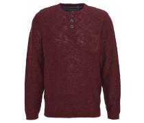 Pullover, meliert, Knopfleiste, Brusttasche, Rot
