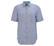 Freizeithemd, Kurzarm, Botton-Down-Kragen, Leinen, Blau