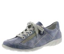 Sneaker, Leder, glänzend, Reptilien-Optik, Blau