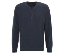 Pullover, meliert, Lagenoptik, Knopfleiste, Blau