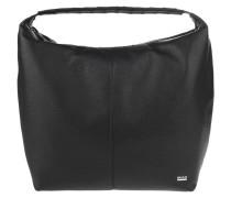 Handtasche, Leder, Marken-Emblem, Schwarz