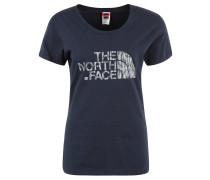 T-Shirt, Rundhals, Label-Print, für Damen, Blau