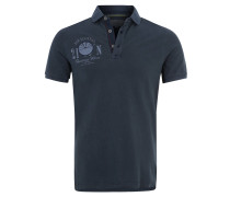 Poloshirt, Baumwolle, Front-Print, Applikation, Blau