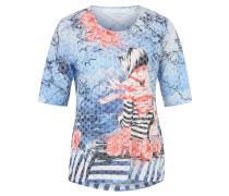Shirt, 3/4-Ärmel, gemustert, Große Größen, Blau