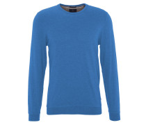 Pullover, uni, Baumwoll-Mix, Rippbündchen, Rundhalsausschnitt, Blau