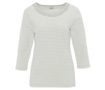 Shirt, 3/4 Arm, Baumwolle, gestreift, geflochtener Ausschnitt