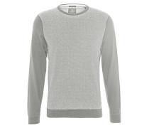 Pullover, Hahnentritt-Muster, Rippbündchen, Baumwoll-Mix, Grau