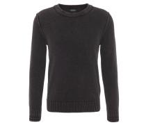 Pullover, meliert, Schulternaht-Applikationen, Schwarz