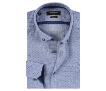 Businesshemd, Muster, Button-Down-Kragen, Blau