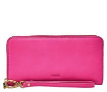 """Geldbörse """"Emma RFID Large Zip Clutch Pink"""", Leder, Anhänger, Pink"""