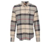 Freizeithemd, Tailored Fit, Kent-Kragen, Flanell, Grau
