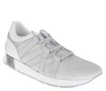 Sneaker, sportives Design, Wechselfußbett, Silber