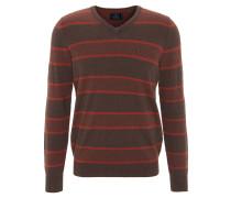 Pullover, Baumwolle, Kaschmir, V-Ausschnitt, gestreift