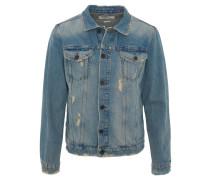 Jeansjacke, Used-Look, helle Waschung, Knopfleiste, offene Säume, Blau