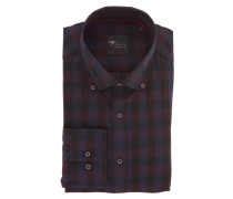 Businesshemd, Slim Fit, kariert, Button-Down-Kragen, Schwarz