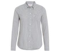 Hemdbluse, Brusttasche, Allover-Muster, Baumwolle, Weiß