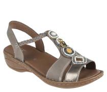 """Sandalen """"Hawaii"""", Leder, geflochtener Riemen, Perlen, Steine, Grau"""