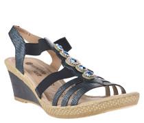 Sandaletten, Riemchen, Strass, Keilabsatz, Blau