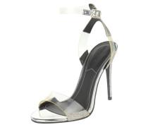 Sandaletten, Pfennigabsatz, transparent, glitzernder Knöchelriemen