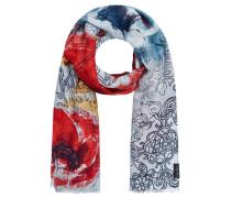 Schal, florales Muster, Fransen