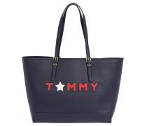 """Shopper """"Honey"""", Lederimitat, Logo-Stickerei, Blau"""