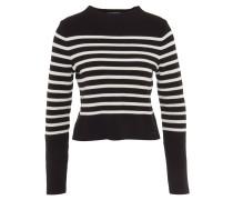 Pullover, Stehkragen, Streifen, cropped, Schwarz