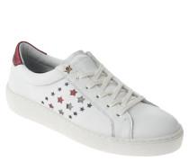 """Sneaker """"S1285UZIE HG 2A1"""", Leder, gestanzte Sterne, Weiß"""