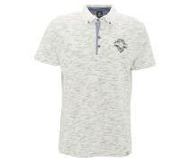 Poloshirt, leichter Stoff, meliert, Stickerei, Weiß
