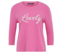 Shirt, 3/4-Arm, Print, Zierperlen, Rundhalsausschnitt, Pink