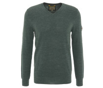 Pullover, V-Ausschnitt, Baumwolle, meliert, Oliv
