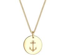 Halskette Anker Münze Maritim 925 Sterling Silber Merle