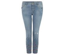 Jeans, Regular Fit, Ankle-Cut, Destroyed-Effekt, Stickerei