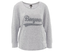 Pullover, meliert, Stickerei, Fledermausärmel, Grau