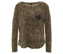Longsleeve, Camouflage, Perlen-Details, Oliv