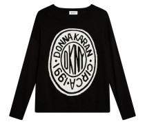 Pullover, Feinstrick, Logo-Motiv, Seitenschlitz, Schwarz