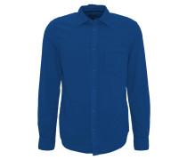 Freizeithemd, Slim Fit, Langarm, Waffel-Struktur, Kent-Kragen, Blau